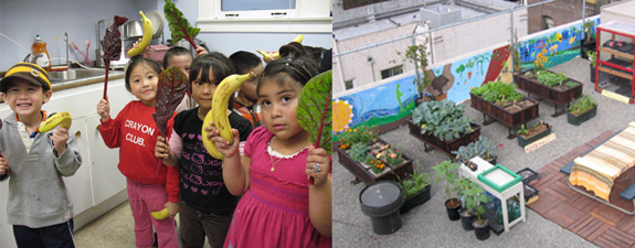 (left) Children learn where their food comes from at Graze's Seed to Belly program. (right) Graze the Roof at Glide Memorial Church.